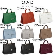 OAD NEW YORK Casual Style 2WAY Plain Leather Elegant Style Totes