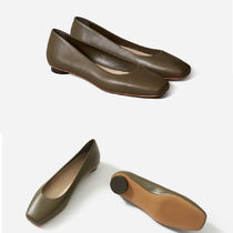 Everlane Casual Style Plain Leather Chunky Heels Pointed Toe Shoes