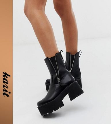 Platform Casual Style Faux Fur High Heel Boots