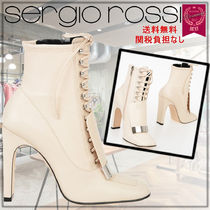 Sergio Rossi Round Toe Lace-up Plain Leather Block Heels Elegant Style