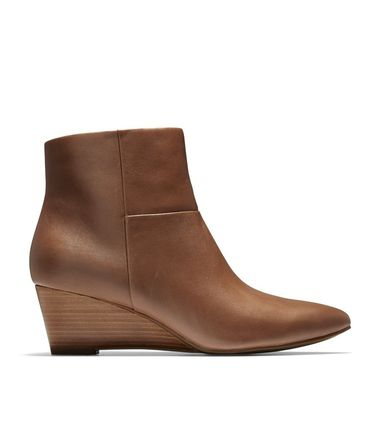 Cole Haan Plain Leather Elegant Style Wedge Boots