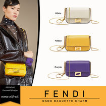 FENDI BAGUETTE Casual Style Chain Plain Leather Shoulder Bags