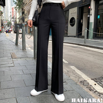 Casual Style Plain Long Office Style Center Pressed Pants