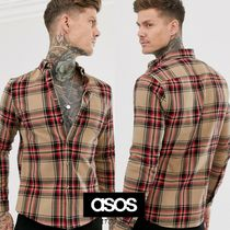 ASOS Button-down Other Check Patterns Long Sleeves Cotton Shirts