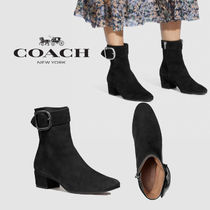 Coach Round Toe Rubber Sole Casual Style Suede Plain Block Heels