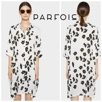 Short Leopard Patterns Casual Style Short Sleeves