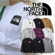 THE NORTH FACE Unisex Long Sleeves Plain Cotton Logos on the Sleeves