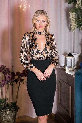 Leopard Patterns Tight Long Sleeves Medium Party Style