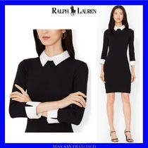 Ralph Lauren Short Tight Bi-color Cropped Plain Office Style Dresses