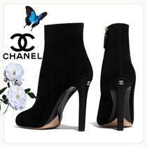 CHANEL Plain Toe Casual Style Suede Street Style Plain Pin Heels