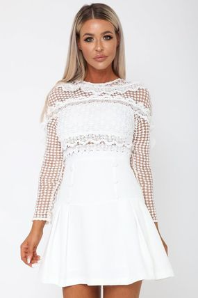 Short Flared Long Sleeves Party Style Lace Dresses