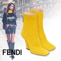 FENDI Square Toe Street Style Elegant Style Ankle & Booties Boots
