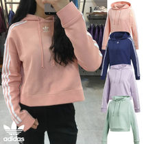 adidas Short Blended Fabrics Street Style Long Sleeves Plain Cotton