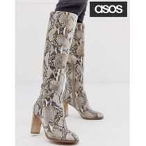 ASOS Leather Python Over-the-Knee Boots