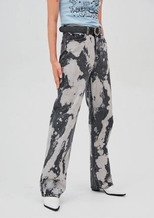 Printed Pants Street Style Bi-color Cotton Oversized Jeans