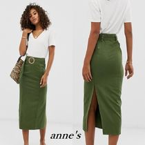 ASOS Denim Plain Cotton Medium Khaki Midi Skirts