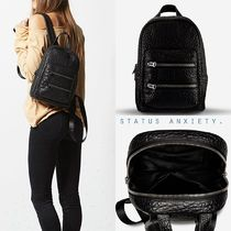 STATUS ANXIETY Casual Style Plain Leather Backpacks