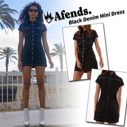 Short Casual Style Tight Street Style V-Neck Plain Cotton