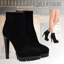 Sergio Rossi Rubber Sole Casual Style Plain Pin Heels Elegant Style