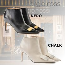 Sergio Rossi Casual Style Plain Leather Pin Heels Elegant Style