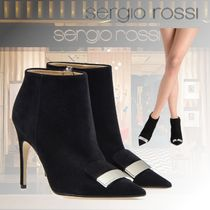 Sergio Rossi Casual Style Suede Plain Pin Heels Elegant Style