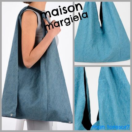 Casual Style Denim Plain Totes