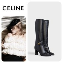CELINE Leather Block Heels High Heel Boots