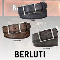 Berluti Leather Logo Belts