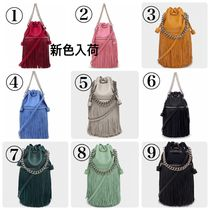 J & M Davidson Carnival Casual Style Tassel Plain Leather Purses Fringes