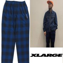 X-Large Printed Pants Other Check Patterns Unisex Street Style