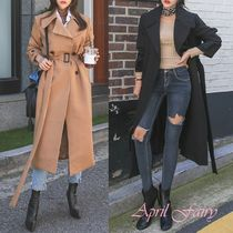 Plain Long Trench Coats