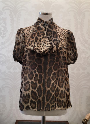 Dolce & Gabbana Short Leopard Patterns Silk Short Sleeves Elegant Style