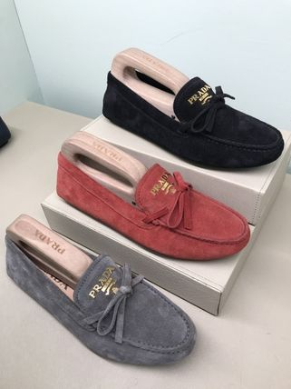 Moccasin Round Toe Rubber Sole Casual Style Suede Plain