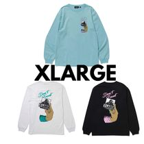X-Large Crew Neck Pullovers Unisex Street Style Long Sleeves Plain