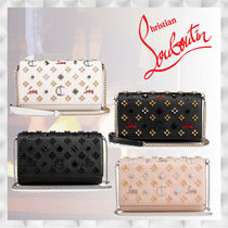 Christian Louboutin Paloma Calfskin Studded 2WAY Chain Plain Party Style Clutches