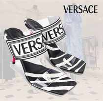 VERSACE Leather Pin Heels Party Style PVC Clothing Elegant Style