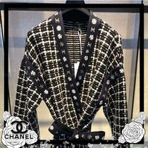CHANEL Other Check Patterns Wool Cashmere Long Sleeves Medium Gowns