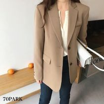 Casual Style Plain Medium Jackets