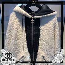 CHANEL Wool Cashmere Bi-color Medium Shearling Logo Jackets