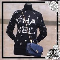 CHANEL Casual Style Wool Cashmere Long Sleeves Medium High-Neck