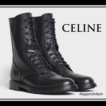 CELINE Round Toe Rubber Sole Lace-up Casual Style Plain Leather
