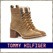 Tommy Hilfiger Plain Toe Lace-up Casual Style Suede Plain Block Heels
