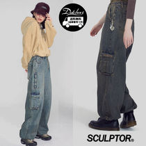 SCULPTOR Denim Street Style Plain Oversized Jeans