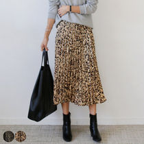 Leopard Patterns Casual Style Pleated Skirts Long Midi
