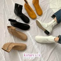 Round Toe Casual Style Faux Fur Plain Ankle & Booties Boots
