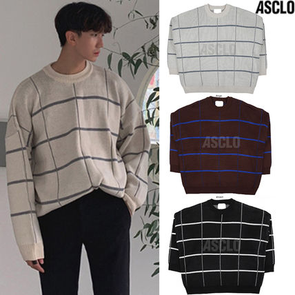 ASCLO Knits & Sweaters Glen Patterns Street Style Collaboration Long Sleeves