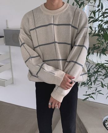 ASCLO Knits & Sweaters Glen Patterns Street Style Collaboration Long Sleeves 10