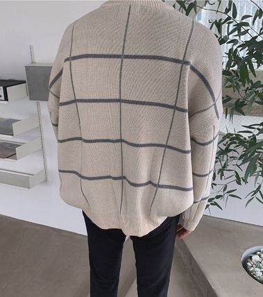 ASCLO Knits & Sweaters Glen Patterns Street Style Collaboration Long Sleeves 13