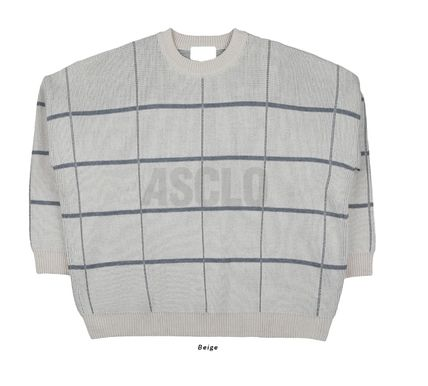 ASCLO Knits & Sweaters Glen Patterns Street Style Collaboration Long Sleeves 20