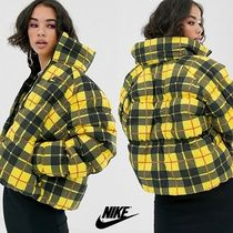 Nike Short Other Check Patterns Street Style Down Jackets
